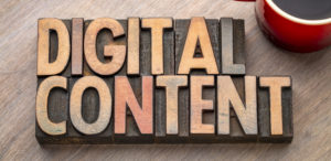 digital content word asbtract in wood type